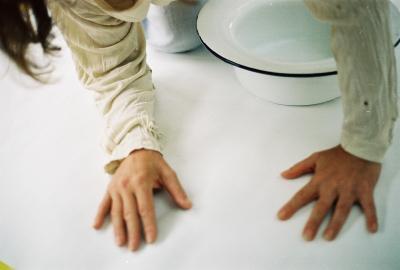 water glas hand en haar